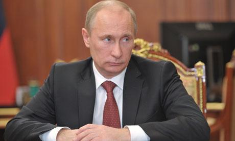 Russia's President Vladimir Putin looks
