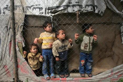 Palestinian children watching