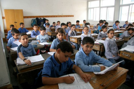 Palestinian mathematics class - UNRWA Gaza Elementary School in Gaza City