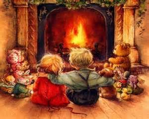 sitting around a fire