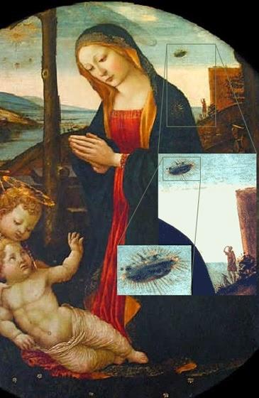 Madonna, child, UFO